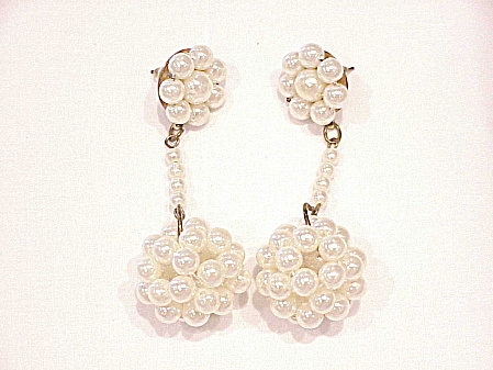 1960's Mod Style Dangling Pearl Ball Pierced Earrings