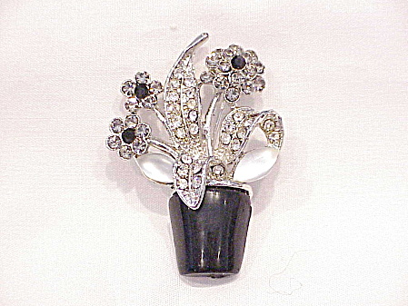 MOONSTONE BEAD, BLACK AND CLEAR RHINESTONE POT OF FLOWERS BROOCH (Image1)