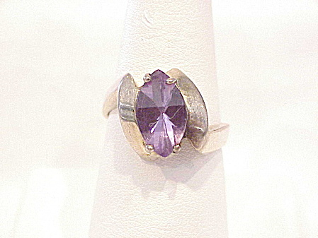 Unique Sterling Silver And Amethyst Cabochon Ring Signed C A - Size 10