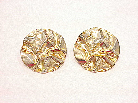 Vintage Parklane Large Crinkled Texture Gold Tone Clip Earrings