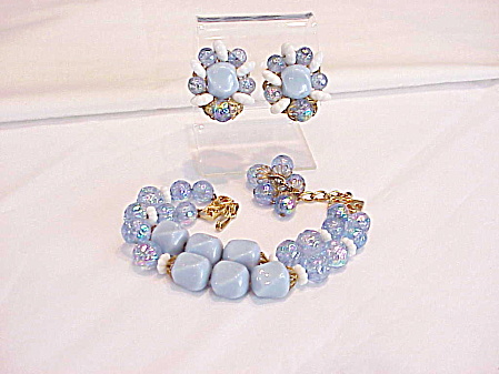 Vintage Hobe' Iridescent Blue Glass Bead Bracelet Clip Earrings Set