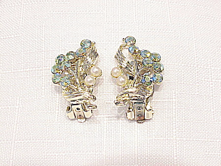Vintage Blue Aurora Borealis Rhinestone And Pearl Clip Earrings
