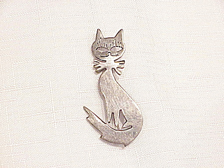 Sterling Silver Cat Brooch Signed Nd