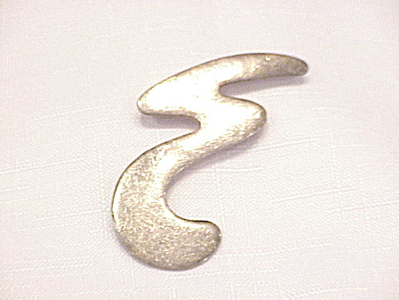 Sterling Silver Abstract E Design Brooch Signed Nd