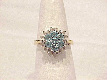 14k Gold Electroplate Blue And Clear Rhinestone Ring - Size 7