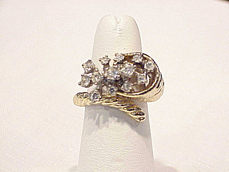 Gold Tone And Clear Rhinestone Spray Ring
