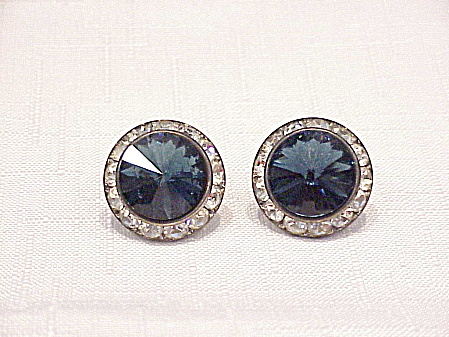 DARK BLUE RIVOLI AND CLEAR RHINESTONE PIERCED EARRINGS (Image1)