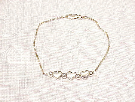 Sterling Silver Bracelet With 3 Hearts