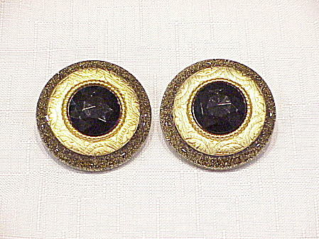 VINTAGE JORGEL GOLD SPARKLE LUCITE BLACK RHINESTONE CLIP EARRINGS (Image1)