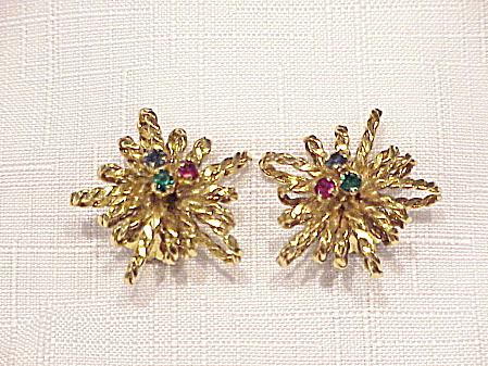 VINTAGE SIGNED AUSTRIA GOLD TONE AND RHINESTONE CLIP EARRINGS (Image1)