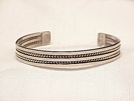 Two Tone Sterling Silver Cuff Bracelet Signed K G