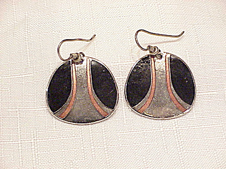 Laurel Burch Black And Pink Enamel Silver Tone Pierced Earrings