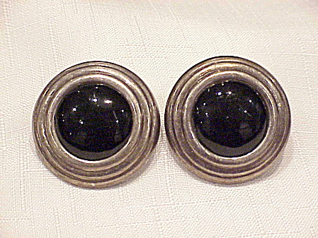 Sterling Silver And Black Onyx Pierced Earrings Signed Ima