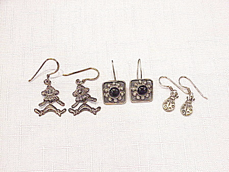 3 Pair Sterling Silver Pierced Earrings - Mexican Onyx, Clown, Ladybug