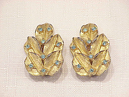 VINTAGE WEISS SKY BLUE RHINESTONE CLIP EARRINGS (Image1)