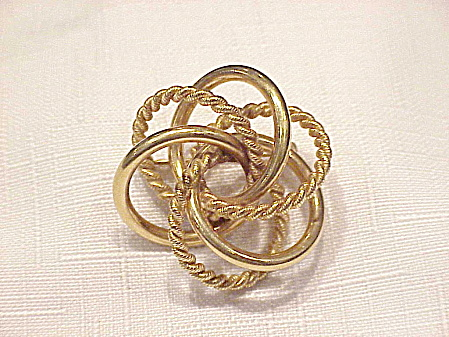 Vintage 12k Gold Filled 3-d Circles Brooch Signed Binder Bros.