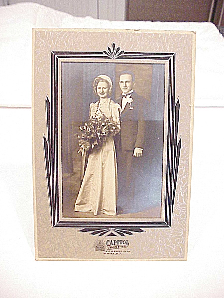 VINTAGE WEDDING COUPLE PHOTO IN ART DECO STYLE HOLDER - NEWARK, NEW JERSEY (Image1)