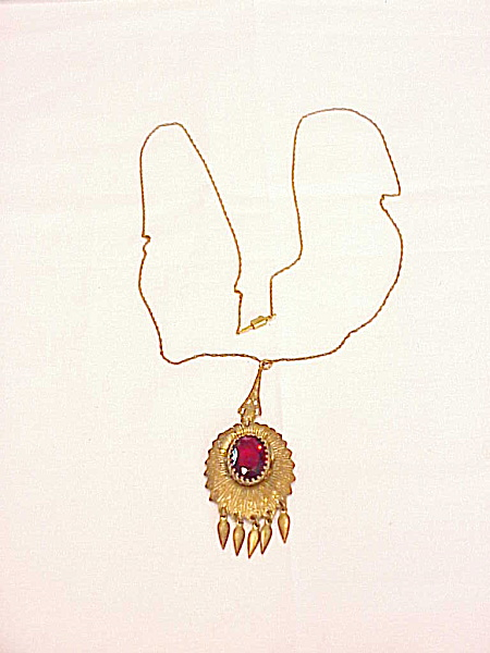 ANTIQUE 14K GOLD FILLED VICTORIAN RED GLASS STONE LAVALIERE NECKLACE  (Image1)