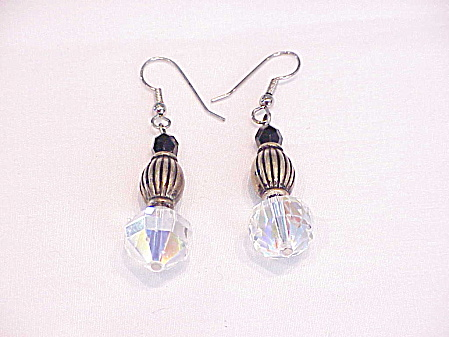 DANGLING AURORA BOREALIS CRYSTAL AND SILVER BEAD PIERCED EARRINGS (Image1)
