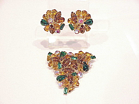 Vintage Large Fruit Salad Rhinestone Brooch And Clip Earrings Set
