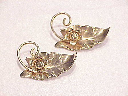 Vintage Barclay Pair Of Gold Tone Leaf Scatter Pins Brooches