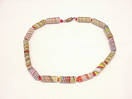 VINTAGE VENETIAN OR MURANO ITALIAN SWIRLED ART GLASS BEAD CHOKER NECKLACE (Image1)