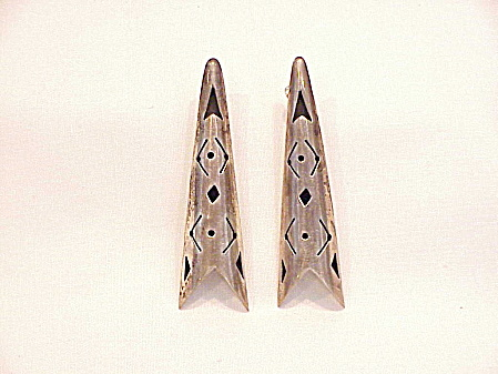 STERLING SILVER LONG TRIANGLE PIERCED EARRINGS WITH CUT OUT DESIGNS (Image1)