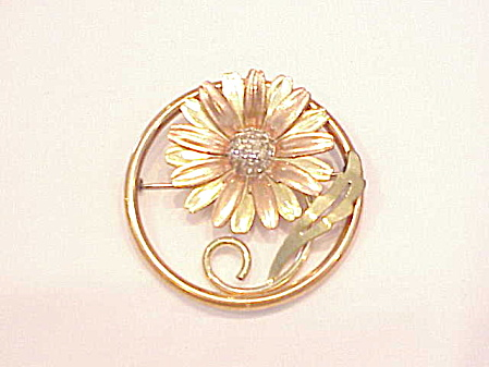 Vintage Taylord 12k Gold Filled Two Tone Rhinestone Daisy Brooch