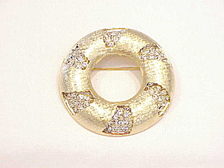 Vintage Kramer Night And Day Rhinestone Brooch - Book Piece