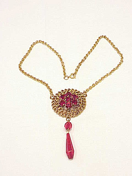 VINTAGE ART DECO LAVALIERE RED RHINESTONE PENDANT NECKLACE (Image1)