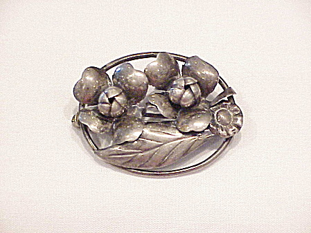 Vintage Art Nouveau Sterling Silver Flower Brooch Signed Hand Made