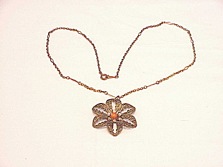 VINTAGE BRONZE FILIGREE, CORAL CABACHON AND RHINESTONE FLOWER PENDANT NECKLACE (Image1)