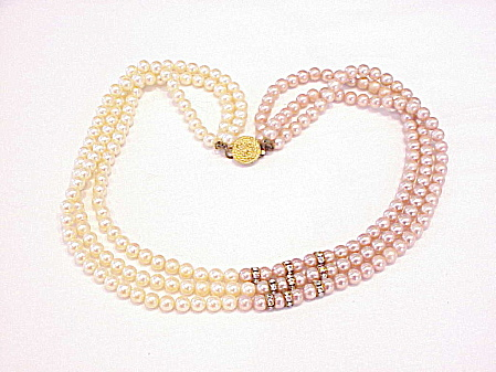 VINTAGE 3 STRAND PINK CREAM PEARL NECKLACE WITH RHINESTONE RONDELLES (Image1)