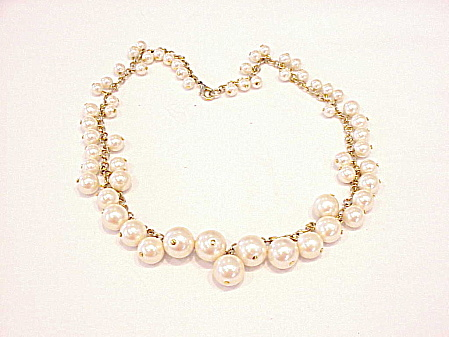 Costume Jewelry - Dangling Graduated Faux Pearl Choker Necklace
