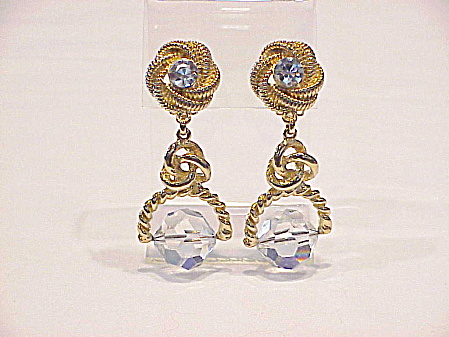Chunky Large Rhinestone And Dangling Glass Crystal Clip Earrings