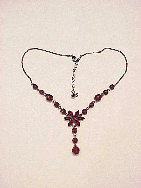 Victorian Style Lavaliere Necklace With Dark Red Rhinestones And Beads