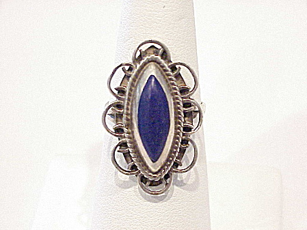 VINTAGE MEXICAN STERLING SILVER FILIGREE AND LAPIS LAZULI RING SIGNED IDM (Image1)