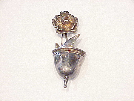 Vintage Signed Eagle 3 Mexican Sterling Silver Flower In Pot Brooch
