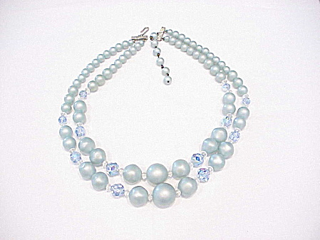 Vintage Light Blue Pearl And Aurora Borealis Glass Crystal Necklace