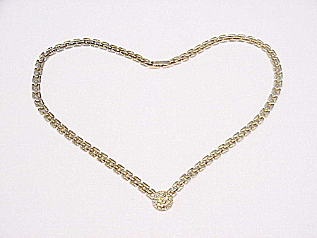 Costume Jewelry - Gold Tone Necklace With Pave Rhinestone Drop