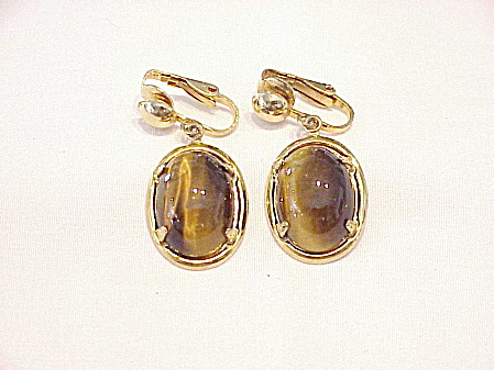 Vintage Dangling Tiger Eye Cabachon Stone Clip Earrings