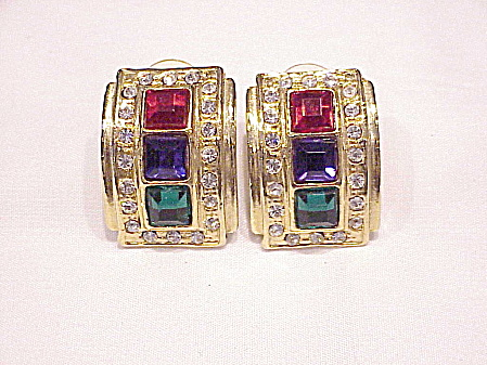 Costume Jewelry - Blue, Green , Red And Clear Rhinestone Pierced Earrings