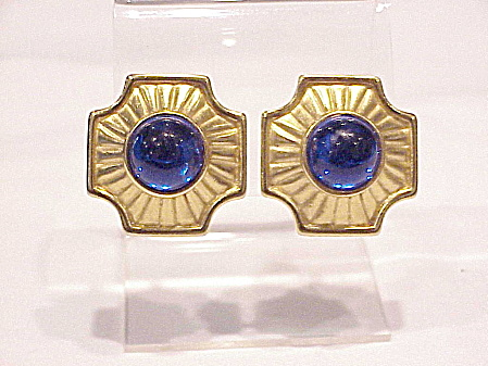 Vintage Trifari Blue Glass Cabochon Brushed Gold Tone Clip Earrings