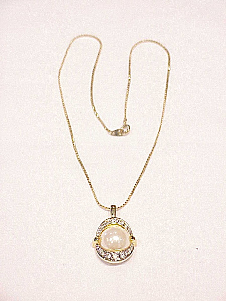 Costume Jewelry - Signed Mabe' Pearl And Rhinestone Pendant Necklace