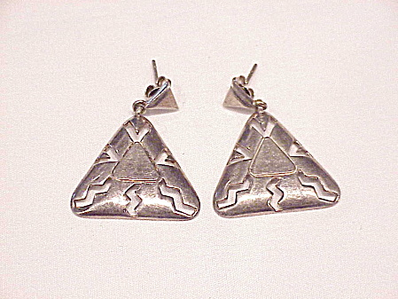 Sterling Silver Dangling Triangle With Cut Outs Pierced Earrings Signed Ima Or Ma