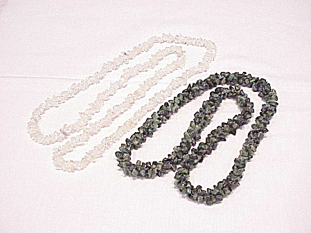 One Natural Jade Stone And One Natural Quartz Stone Necklaces