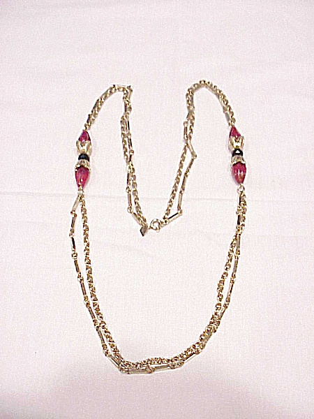 Vintage Sarah Coventry Canada Red Glass Bead Necklace