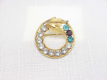 Vintage 12k Gold Filled Rhinestone Brooch Signed D E Curtis Jewelry Co