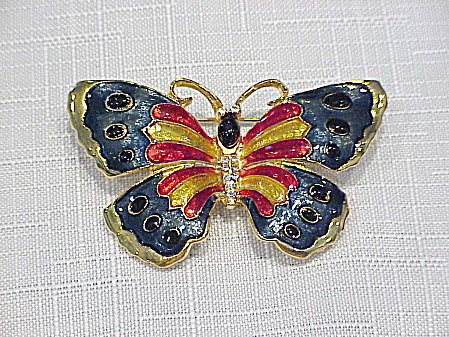 MULTICOLORED ENAMEL AND RHINESTONE BUTTERFLY BROOCH (Image1)