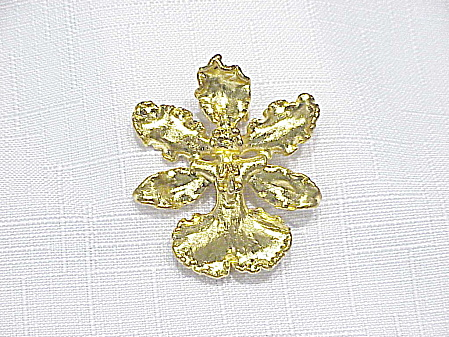 Gold Plated Real Orchid Brooch Or Pendant Signed Rsr
